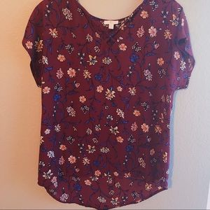 Pink and Blue Flower Print on Maroon Shirt